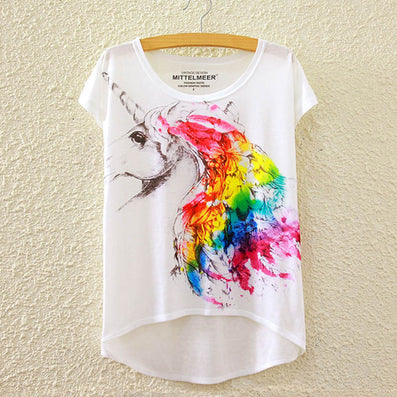 Cotton cropped t Shirt Women Short Sleeve t-shirts o-neck Causal loose Magic Unicorn T Shirt Summer top for women-Dollar Bargains Online Shopping Australia