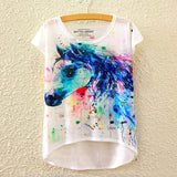 2016 Brand New Cotton cropped t Shirt Women Short Sleeve t-shirts o-neck Causal loose Magic Unicorn T Shirt Summer top for women - Dollar Bargains - 8