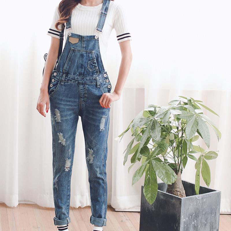 6d71095f380 TC Womens Jumpsuit Denim Overalls Spring Autumn Casual Ripped Hole Loose  Pants Ripped Pockets Jeans Coverall