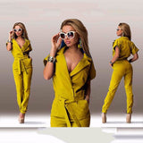 Fashion Summer Women's Jumpsuits Short Sleeve Slim Fit Hollow Rompers Sexy Womens Jumpsuit Casual Long Pants Solid B6147R-Dollar Bargains Online Shopping Australia