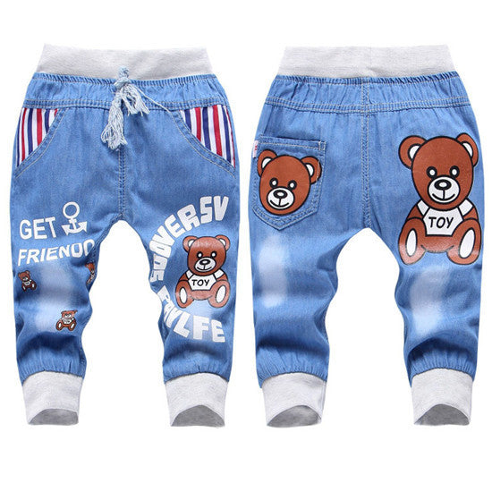06dc2872 New Fashion Kids Jeans Elastic Waist Straight Cartoon Jeans Denim Seventh  Pants Retail Boy Jeans For