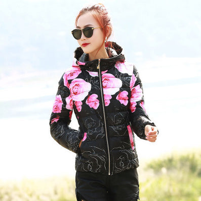 New Fashion Women Winter Coat Long Sleeve Print Floral Hooded Slim Winter Parka Plus Size Cotton-Padded Jackets QH197-Dollar Bargains Online Shopping Australia