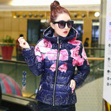 2016 New Fashion Women Winter Coat Long Sleeve Print Floral Hooded Slim Winter Parka Plus Size Cotton-Padded Jackets QH197 - Dollar Bargains - 6