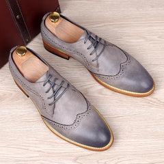 Men's carved genuine leather brogue shoes man oxford bullock flats shoe vintage lace up casual business gentle dress-Dollar Bargains Online Shopping Australia