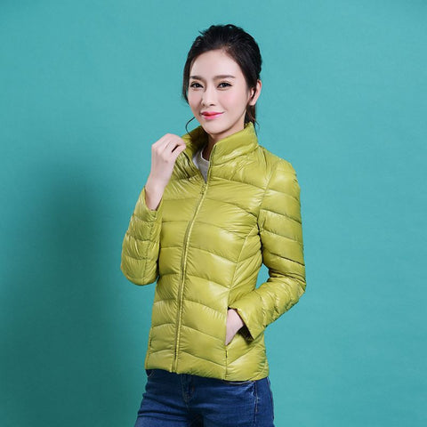 women Plus Size ultra casual light winter warm duck down jacket Zipper coats Stand Collar slim Outwear suit Parka Feminino tops - Dollar Bargains - 5