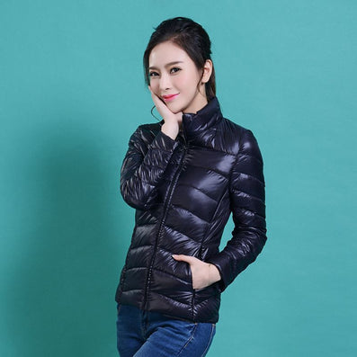 women Plus Size ultra casual light winter warm duck down jacket Zipper coats Stand Collar slim Outwear suit Parka Feminino tops - Dollar Bargains - 8