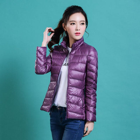 women Plus Size ultra casual light winter warm duck down jacket Zipper coats Stand Collar slim Outwear suit Parka Feminino tops - Dollar Bargains - 3