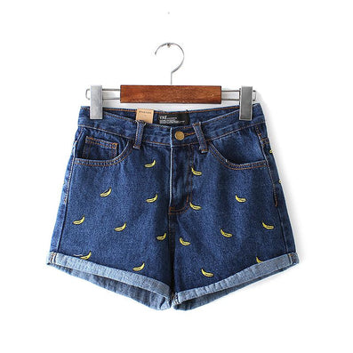fashion women Korean summer banana flower embroidery cotton curling plus size casual female waist denim shorts-Dollar Bargains Online Shopping Australia