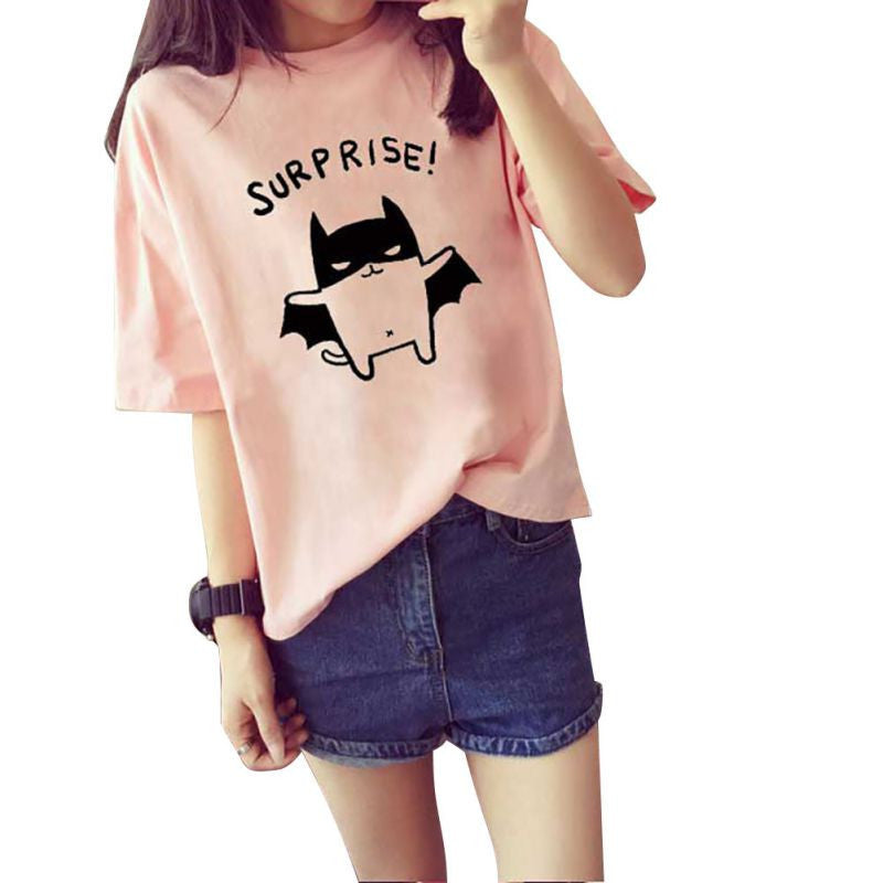 2016 Women's Summer T-Shirt Lovely Bat Printed Short Sleeve Tops Free Shipping New - Dollar Bargains