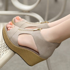 New Style Sandals Women Shoes Woman Summer Platform Wedges Vintage High Heels Open Toe With Zippers Sandalias Zapatos Mujer-Dollar Bargains Online Shopping Australia