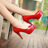 Solid color leather platform round toe high heels shallow mouth thin heels work women shoes red bride wedding shoes-Dollar Bargains Online Shopping Australia