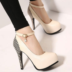 Female Casual Round Toe Pumps Women Thin High Heeled Buckle Single Shoes Fashion Girls Rhinestone Platform Shoes-Dollar Bargains Online Shopping Australia
