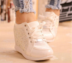 Black White Hidden Wedge Heels Fashion Women's Elevator Shoes Casual Shoes For Women wedge heel Rhinestone-Dollar Bargains Online Shopping Australia