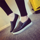 2016 Spring Autumn Women Leather shoes For Woman Black Loafers snakeskin shoes slip on Loafer Casual Shoes zapatos mujer - Dollar Bargains - 1
