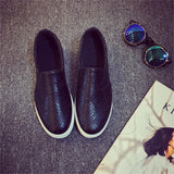 2016 Spring Autumn Women Leather shoes For Woman Black Loafers snakeskin shoes slip on Loafer Casual Shoes zapatos mujer - Dollar Bargains - 3