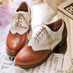 Fashion Vintage Leather Black And White Cutout Carved Lace Up Low Heel Oxford Brogue Flat Shoes For Women Plus Size Casual Shoe-Dollar Bargains Online Shopping Australia