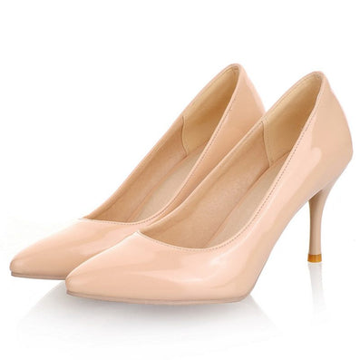 Women Nude Color Patent Leather Pumps spring Fashion Pointed Toe High Thin Heels Stilettos Slip On Party Shoes Plus Size 43-Dollar Bargains Online Shopping Australia