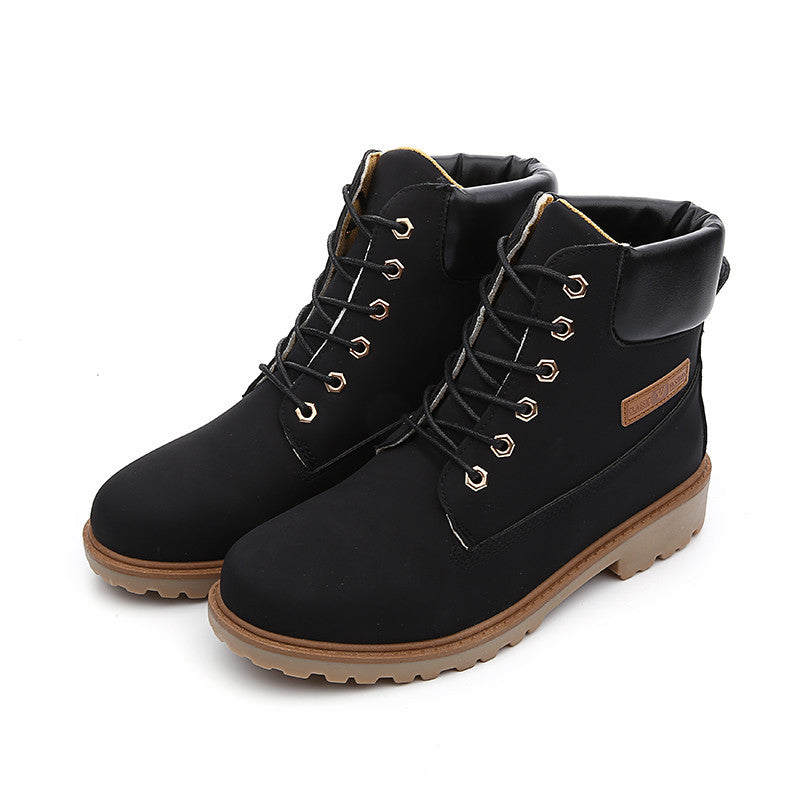 Black / 5.5Fashion Casual Men Women Boots Autumn Winter Suede Tooling Snow boot Leather Couples Martin Big Size 36-46