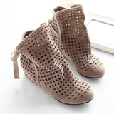 2016 New Fashion Big size 43 Summer Boots Women Flock Flat shoes Low Hidden Wedges Solid Cut-outs Ankle Boot Ladies Casual Shoes - Dollar Bargains - 1