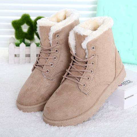Hot Women Boots Snow Warm Winter Boots Botas Mujer Lace Up Fur Ankle Boots Ladies Winter Shoes Black NM01 - Dollar Bargains - 1