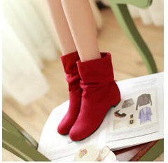 autumn and winter velvet boots scrub women's martin boots shoes spring and autumn boots female cotton boots low thick heel-Dollar Bargains Online Shopping Australia