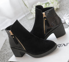 women boots fashion autumn ankle boots pu leather shoes woman suede Splice black blue high heels boots shoes women AA223-Dollar Bargains Online Shopping Australia