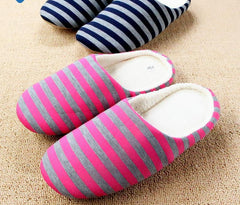 Slippers Men Women Indoor Pantufas Winter Cotton Striped Slipper Home Shoes Soft Floor Household Female/male Plush Chinelos-Dollar Bargains Online Shopping Australia