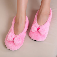 Big Bow Knot Warm Soft Sole Women Indoor Floor Slippers/Shoes Bow Tie Flannel Home Slippers-Dollar Bargains Online Shopping Australia