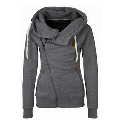 Fashion New European Personality Women Jackets Hoodie Side Zipper Hooded Female Jacket Big Size M-2XL Tracksuits Sweatshirt-Dollar Bargains Online Shopping Australia