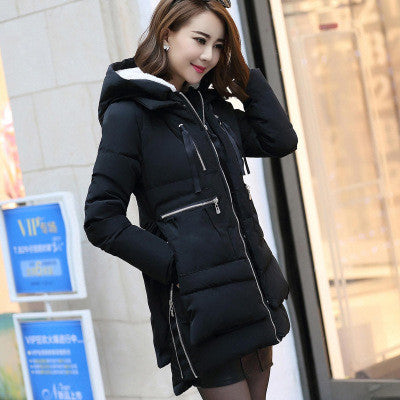 Black / XLWomen jacket Hoody Long Style Warm Winter Coat Women Plus Size M~XXXL