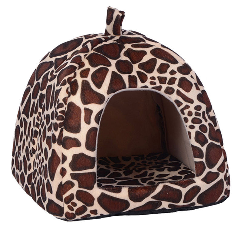 Yellow / SPet Cat House Foldable Soft Winter Leopard Dog Bed Strawberry Cave Dog House Cute Kennel Nest Dog Fleece Cat Bed