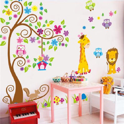 Animal Giraffe Owl Tree Wall Decals Home Decoration Wallpaper Living Room  Sofa Vinyl Wall Stickers For
