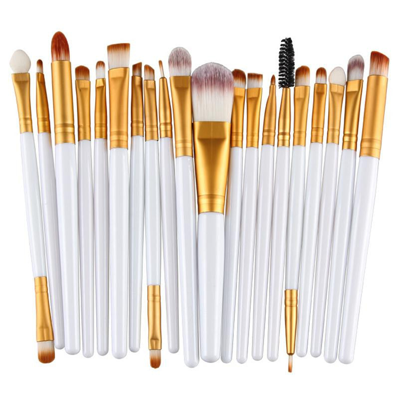 White gold rod tube20pcs Eye Makeup Brushes Set Eyeshadow Blending Brush Powder Foundation Eyeshadading Eyebrow Lip Eyeliner Brush Cosmetic Tool