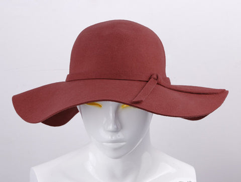 100% Pure Cashmere Wool Fedoras Solid Wide Large Brim Hats For Women  Vintage Felt Floppy 81db0c8bbfc4