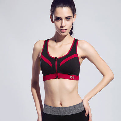 Women Zipper Sports Bra Push Up Shockproof Top Underwear with Inner Pad Running Gym Fitness Jogging Yoga shirt-Dollar Bargains Online Shopping Australia