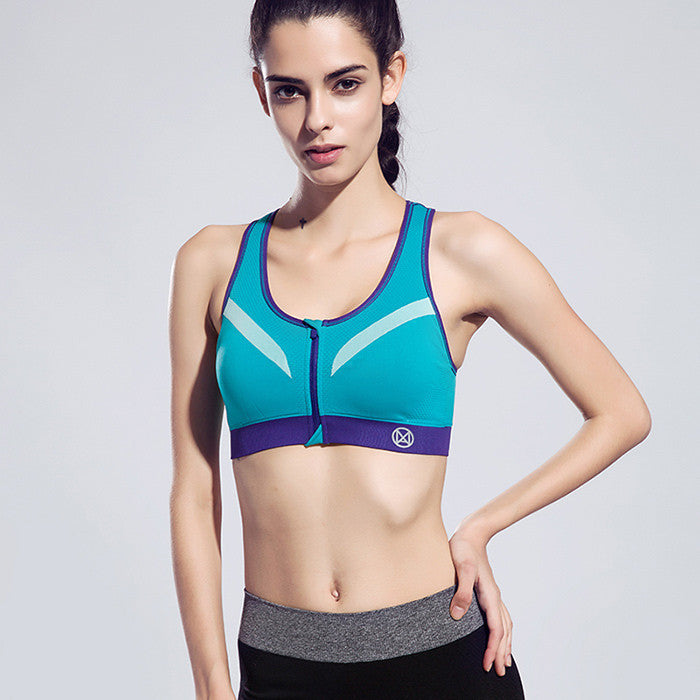 Blue / SWomen Zipper Sports Bra Push Up Shockproof Top Underwear with Inner Pad Running Gym Fitness Jogging Yoga shirt
