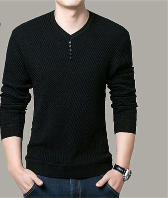 Solid Color Pullover Men V Neck Sweater Men Long Sleeve Shirt Mens Sweaters Wool Casual Dress Brand Cashmere Knitwear Pull Homme-Dollar Bargains Online Shopping Australia