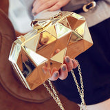 fashion geometric three-dimensional metal chain ladies handbag evening bag day clutches mini purse wedding party bag-Dollar Bargains Online Shopping Australia