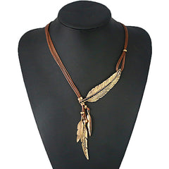 Fashion Bohemian Style Black Rope Chain Feather Pattern Pendant Necklace For Women Fine Jewelry Collares Statement Necklace-Dollar Bargains Online Shopping Australia