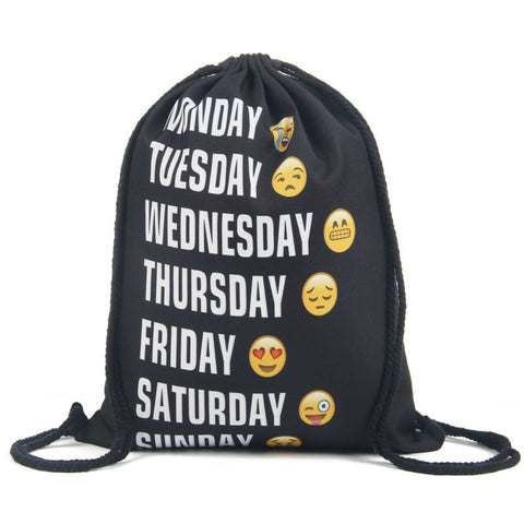 2016 new fashion Women Emoji Backpack 3D printing travel softback  women mochila drawstring bag mens backpacks - Dollar Bargains - 1