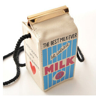 whiteCute Stereo Mini Milk Box Makeup Cartoon Bag Women Fashion Letter Canvas Shoulders Bag LL1335