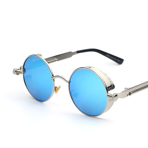 Gothic Steampunk Mens Sunglasses Coating Mirrored Sunglasses Round Circle Sun glasses Retro Vintage Gafas Masculino Sol - Dollar Bargains - 1