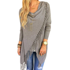 Autumn Winter Cape Poncho Fashion Womens Capes And Ponchoes Women Oversized Sweater With Tassel Turtleneck Sweater Plus Size XXL-Dollar Bargains Online Shopping Australia