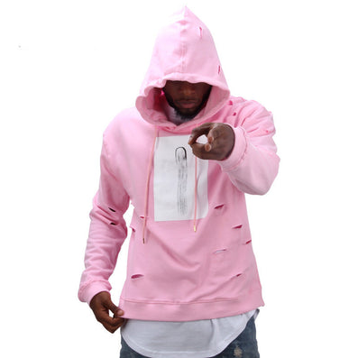2016 hot mens hip hop pink hoodies sweat suit tracksuit men with the hole hoodies men fashion set winter male streetwear - Dollar Bargains - 1