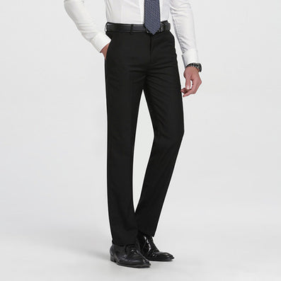 Autumn Men's Gray-Solid Suit Separate Pant Flat-Front Slim Fit Unelastic Lightweight Wrinkle-resistant Business Dress Pants-Dollar Bargains Online Shopping Australia