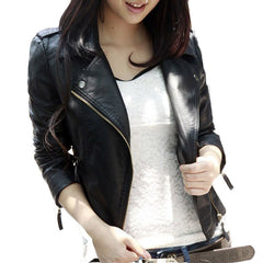 New Spring Autumn Women Jacket Black Fashion Slim S-3XL PU Leather Motorcycle Short Outwear Jaqueta Feminina Damen Jacket-Dollar Bargains Online Shopping Australia