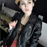2016 New Fashion Turn Down Collar Women Leather Jackets Slim PU Leather Motor Jacket for Women Casaco Feminino Size 3XL, CB018 - Dollar Bargains - 1