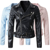 New Fashion Women Faux Leather Jacket Ladies Motorcycle PU Blue Pink Black Long Sleeve Coat with Belt-Dollar Bargains Online Shopping Australia