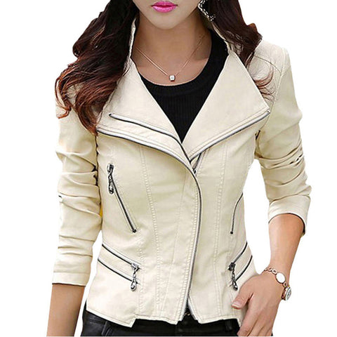 TANGNEST Plus Size M-5XL Fashion 2016 Autumn Winter Women Leather Coat Female Slim Rivet Leather Jacket Women's Outerwear WWP108 - Dollar Bargains - 1