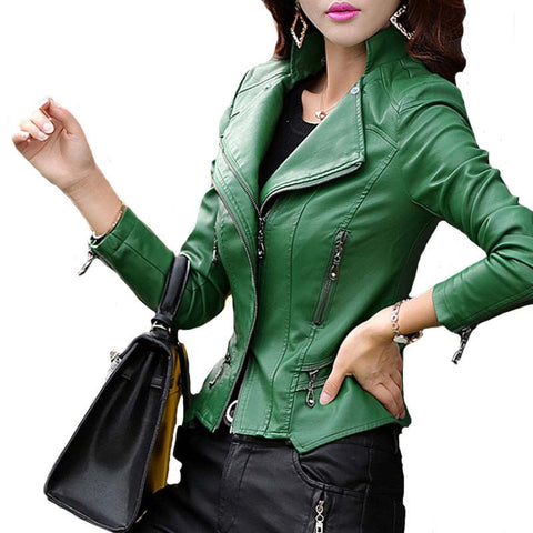 TANGNEST Plus Size M-5XL Fashion 2016 Autumn Winter Women Leather Coat Female Slim Rivet Leather Jacket Women's Outerwear WWP108 - Dollar Bargains - 4